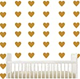 Set of 96 pieces 2'' Heart Wall Decor Sticker DIY Children's Wall Decor Decals Removable Vinyl Kids Room Baby Boys Grils Bedroom Wall Sticker YYU-19(Gold)