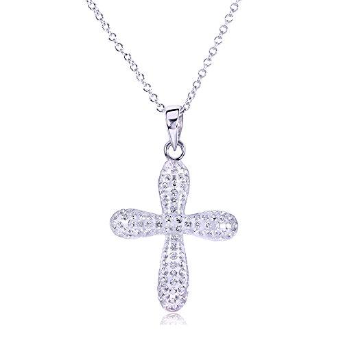 Pendentif Croix avec zircons ronds Diamant 3/8carats (ctw) en or blanc 18K or blanc 14K (Chaîne)