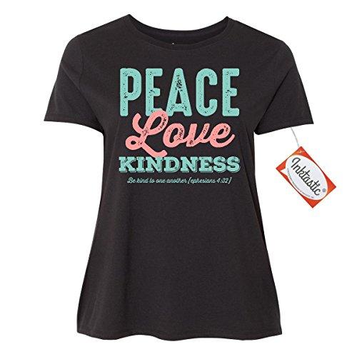 Inktastic Peace Love Kindness Women's Plus Size T-Shirt 2 (18/20) Black