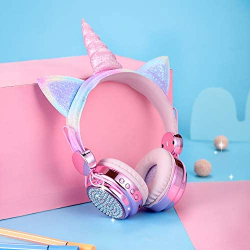 FLOKYU Wireless Kids Headphones Bluetooth Unicorn Headphones with Microphone for Boys Girls 85dB Cute Cat Ear Auto Color-Changing LED Light up Wireless Headsets for School Travel Party (Pink-Unicorn)