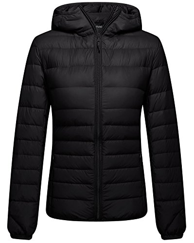ZSHOW Women's Outwear Hooded Down Jackets Packable Winter Down Coat, Medium, Black