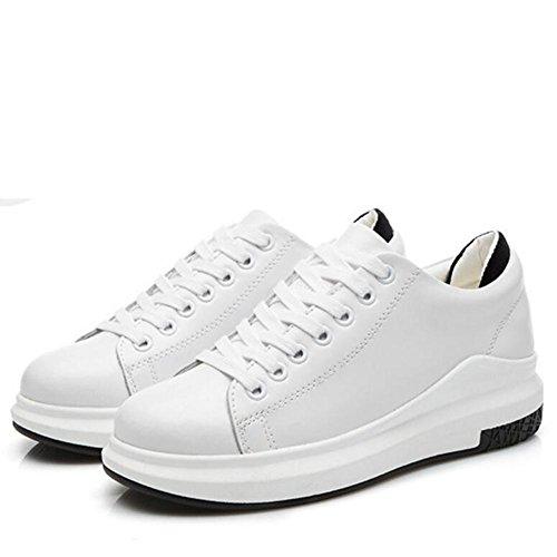L@YC Frauen-flache lederne Schuhe beil?ufige Art- und Weisejoker-B¨¹gel-Schuh-Schwarz-Wei? white , 38
