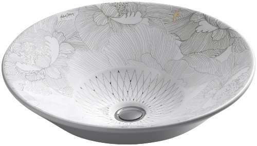 KOHLER K-14223-SMC-0 Empress Bouquet Design on Conical Bell Vessel Bathroom Sink, White (Conical Bell)
