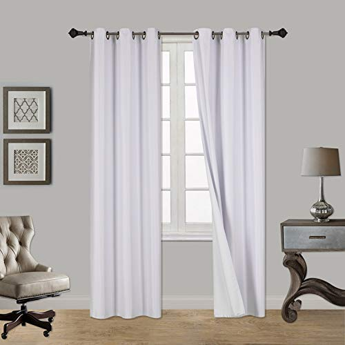 Sapphire Home	Superior Home (2 Panels Grommet Faux Silk Satin Blackout Window Curtain Panels 84