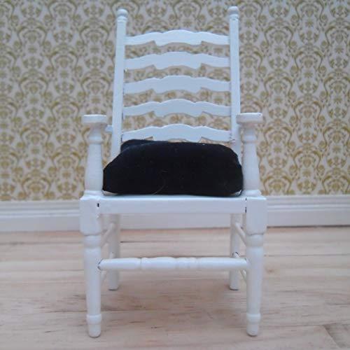 Escala 1/12 Casa de muñecas Blanco Escalera hacia atrás Silla Carver: Almohadilla de asiento azul terciopelo de felpa profunda: Amazon.es: Handmade