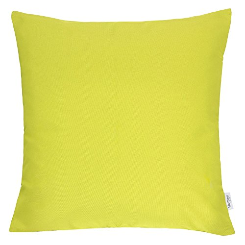 Homey Cozy Outdoor Throw Pillow Cover, Classic Solid Lime Green Large Pillow Cushion Water/UV Fade/Stain-Resistance For Patio Lawn Couch Sofa Lounge 20x20, Cover Only