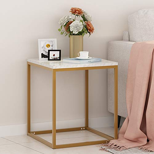 (Tribesigns End Tables, Modern Square Chair Side Table Nightstand for Living Room Bed Room, Faux Marble & Gold Metal)