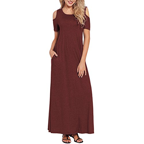 Alaster Queen Women's Cold Shoulder Short Sleeve Loose Dress Casual Summer Long Maxi Dress with Pockets (Burgundy, XX-Large) -
