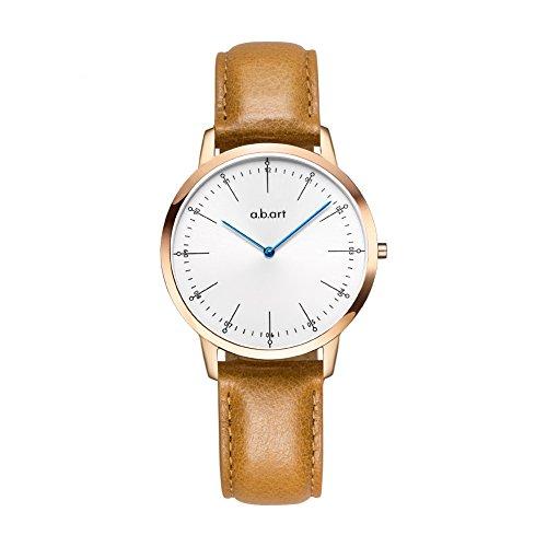 abart Women Wrist Watches FL36-001-3BL Swiss Movement Sapphire Crystal Quartz ladies Watch (Crack Oily Calf Leather-Light Brown) by a.b.art