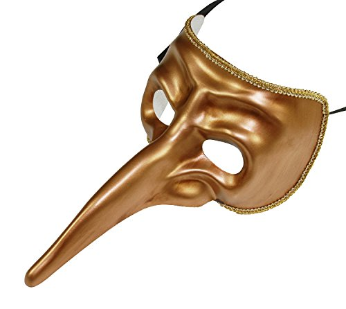 KAYSO INC Men's Vintage Long Nose Masquerade Mask (Gold) (Long Nose Halloween Mask)