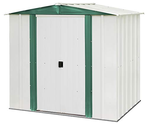 Arrow 6′ x 5′ Hamlet Storage Shed, Yard and Outdoor Storage for Tools, Lawn Equipment, Pool Toys Eggshell and Green