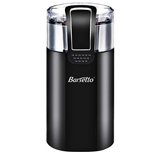Coffee Grinder Electric,Barsetto150W Powerful Blade Coffee Bean Spice Grinder with 12 Cups Large Grinding Capacity for Dry Spices, Nuts, Seeds, Beans, Stainless Steel Blades, Black