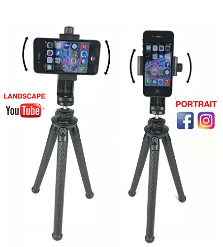 Socialite 12 inch Bendable Flexible Mini Tripod Stand with Rotating Smartphone Mount for Smartphone Cell Phone Holder Clip, DSLR Compatible with iPhone Android Gopro Nikon Canon Sony Digital Cameras