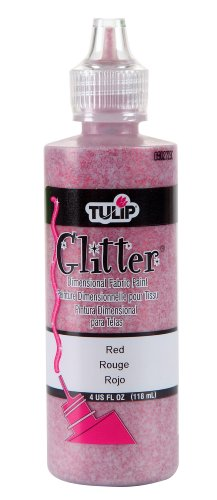Red Glitter Paint (Tulip Dimensional Fabric Paint 4oz Glitter Red)