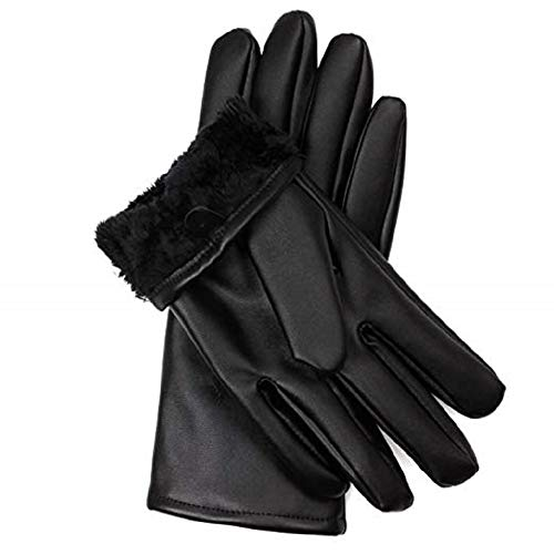 Sandory Mens Luxurious Genuine Leather with Rabbit-Fur Lined Gloves
