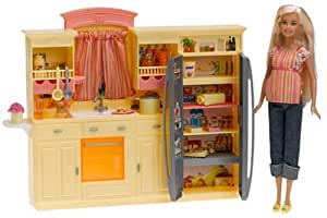 Barbie play all day kitchen set with doll for Kitchen set games