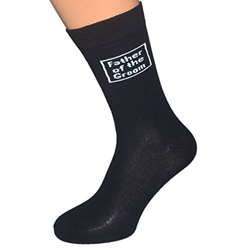 Mens Black Cotton Wedding Day Socks Various Titles (Father of the (Father Of The Groom Gifts)