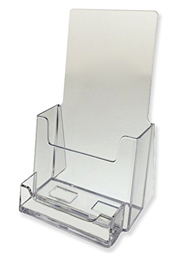 Marketing Holders 100 Pack Clear Trifold brochure holders with business card holder by Marketing Holders