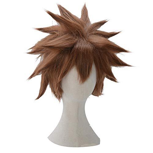 Kingdom Hearts Sora Halloween Cosplay (Xingwang Queen Anime Short Brown Cosplay Wig Men Boys' Party Wigs for Christmas)