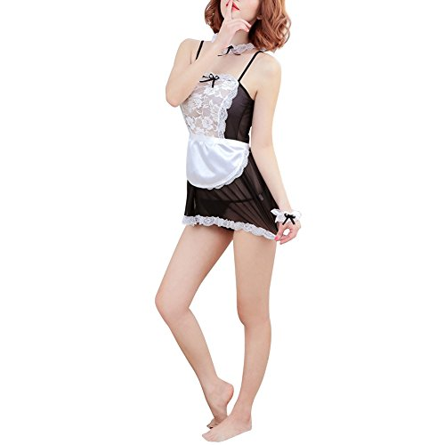 cd94757e8ba Chinatera Sheer Lace Costume Cosplay French Maid Sexy Lingerie Outfit Fancy  Dress