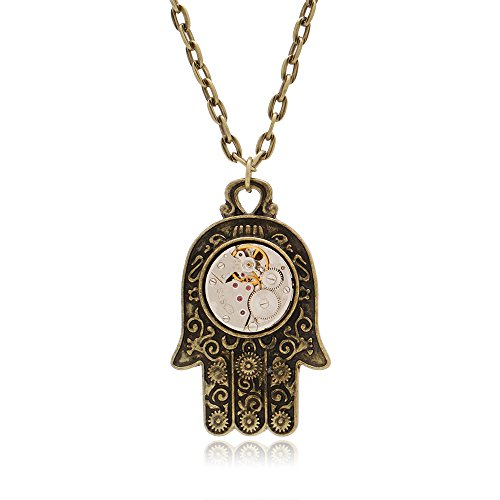 LuReen Steampunk Mechanical Watch Gear Necklace Antique Silver Cable Chain Necklace for Men Women