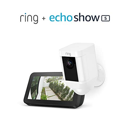 Ring Spotlight Cam Battery (White) with Echo Show 5 (Charcoal)