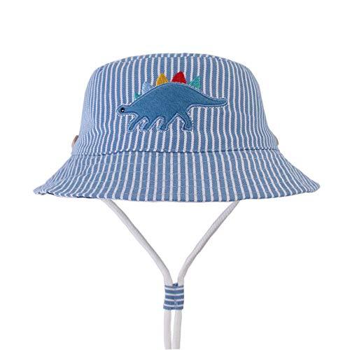 (Baby Sun Hat Toddler Summer Bucket Hat Kids Sun Protection Hat with Chin Strap (Striped Dinosaur, 6-12 Months))