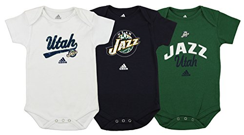 adidas NBA 3-Pack Utah Jazz Creepers, 18 Months