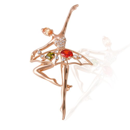 Price comparison product image Fashion Plaza Golden Plated Dancing Girl Ballet Clear and Orange Clear Austrian Crystal Brooches and Pins Jewelry Gift