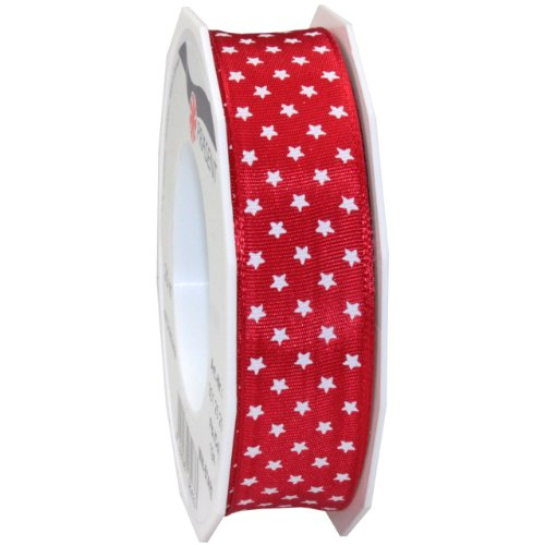 Morex Ribbon Wired Mini Star Ribbon, 1-Inch by 22-Yard, Red
