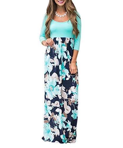 PARTY LADY Women's Casual Floral Long Maxi Dress 3/4 Sleeve Party Long Dress Size XL Green (Empire Waist Maternity Cardigan)