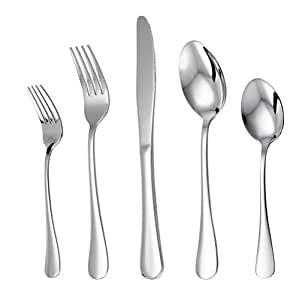 LIANYU LY20PFS  20 Piece Stainless Steel Flatware Silverware Set, Service For 4, Mirror Polished, Include Knife/Fork/Spoon, Dishwasher Safe
