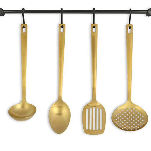 Matte Gold Serving Utensils, Stainless Steel Serving Utensils include - Gold Ladle, Skimmer, Gold Spoon, Turner: Gold Serving Set, Gold Utensils