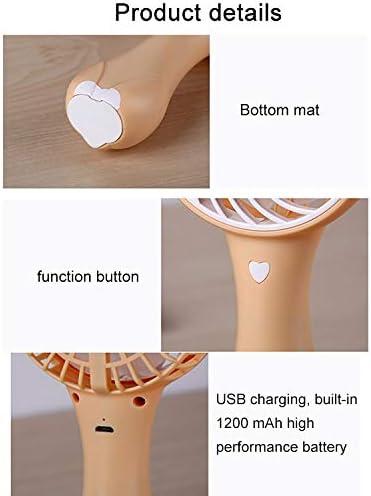 Pink Color : Yellow GzPuluz Mini USB Fan Cartoon Fox Shape Mute Handheld Fan 3 Speed USB Charging