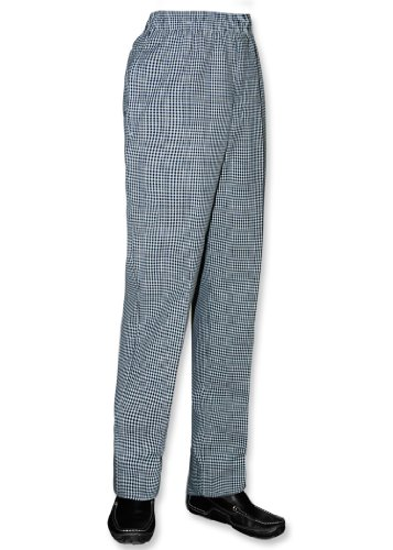 Newchef Fashion Black & White Woven Checkered Ladies Chef Pant M Checkered by Newchef Fashion