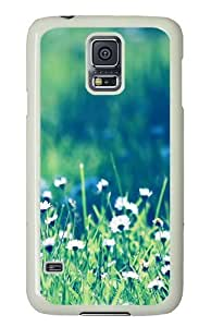 Samsung Galaxy S5 Case Cover - Daisies Field Silicone Rubber Case Back Cover for Samsung Galaxy S5 - PC White