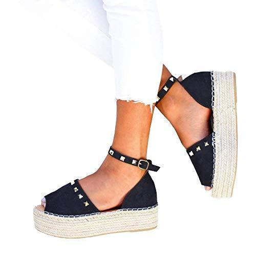 (Liyuandian Womens Open Toe Espadrille Ankle Strap Boho Lace Up Rivet Flatform Sandals )