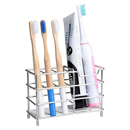 WindCloud Upgraded of 7 Slots Stainless Steel Toothbrush Holder, Toothpaste Holder - Bathroom Multi Function Stand Stander for Comb, Razor, Electric Toothbrush, Cleanser, Countertops, Easy to -