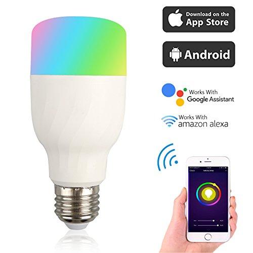 EEEkit WiFi Smart LED Bulb, APP Remote Control, E26 E27 B22 RGB Light Lamp, for echo Alexa Google Home