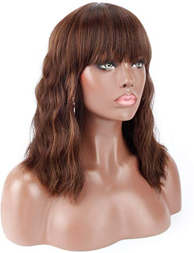 Kalyss 14″ Synthetic Brown Highlights Wigs with Hair Bangs Short Wavy Curly Wig for Women -Natural Looking and Heat Resistant Full Head Hair Replacement Wig for Daily Wear or Costume Wig