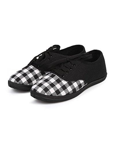 Wild Diva Df38 Femmes Vichy Plaid À Capuchon Toe Classique Lace Up Sneaker - Noir