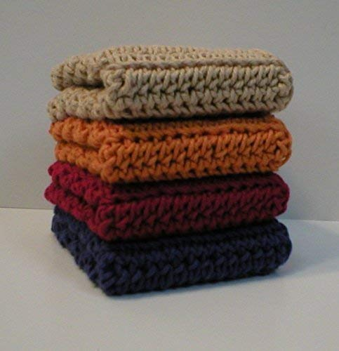 Handmade Crochet Cotton Dishcloths or Washcloths (Set of 4), Blue, Red, Orange, Beige, 8.5 x 8.5 Inches