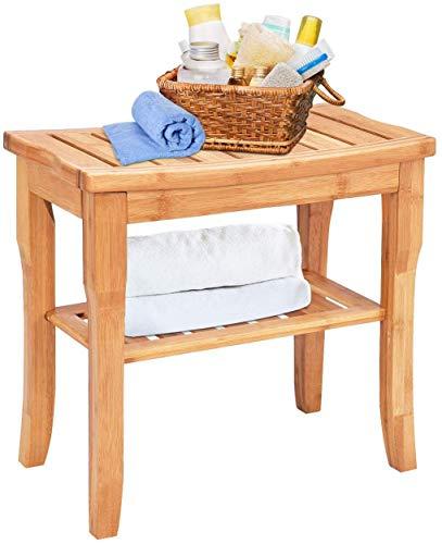 Taburete de Bambu, Comodo Banco de Ducha, Funciona como Silla De Ducha, 50Cm * 24 Cm * 46 Cm, Adecuado para Ancianos y Mujeres Embarazadas y Personas con Movilidad Limitada