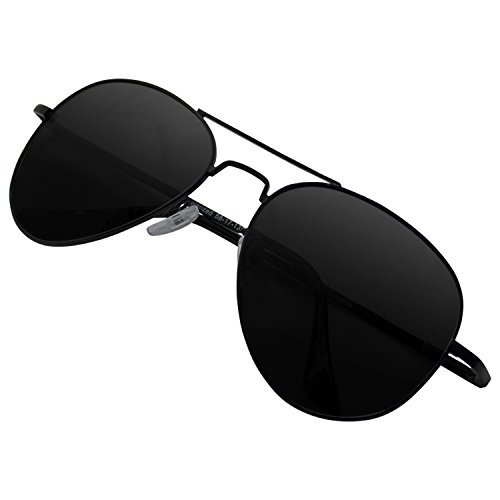 Edition Polarized Sunglasses - Lunette Aviator Sunglasses Black Edition for Women and Men with Polarized Lens and UV400 Protection
