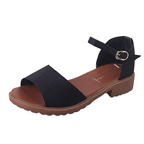 Xjp Women's Summer Sweet Beach Shoes Comfortable Peep Toe Flat Sandals Black hpbRpJufz7