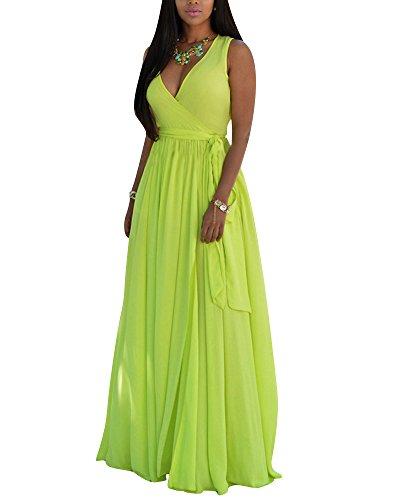 Scollo Lunghi Fluorescente ZhuiKun a Verde Donna Maniche Senza da Abito Maxi Sera V Vestito Cocktail Vestiti qHqYfw