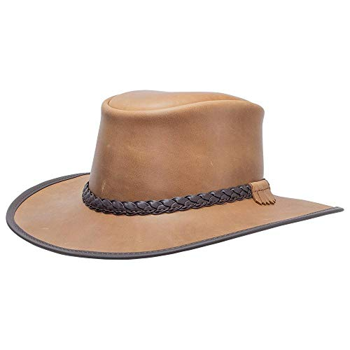 American Hat Makers Bravo-Braided Band by American Outback Rugged Leather Hat, Pecan - Large