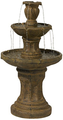 Tuscan Garden Classic Dark Stone 41 1/2''H 3-Tier Fountain by John Timberland
