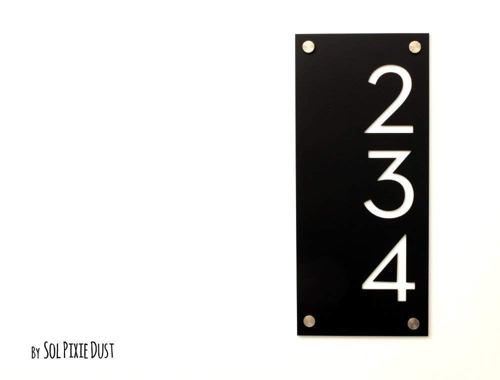 Vertical Concrete with White Acrylic Modern House Numbers Plaque Sign