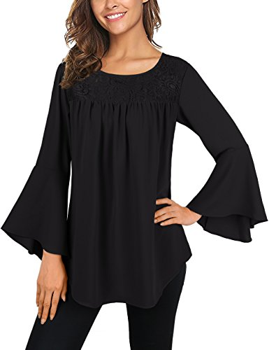 Bell Sleeves Tunic (Faddare Casual Plain Simple O Neck Tunic,Bell Sleeve Loose T-Shirt,Black M)